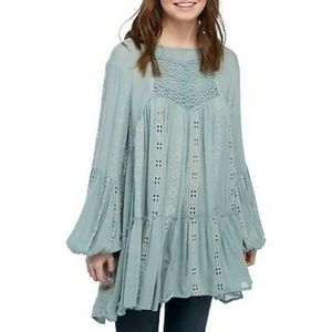 Free People Dress L Green kiss kiss Tunic 12153
